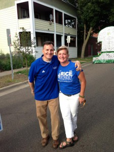 Amy with Representative John Lesch at the Rice Street Parade.